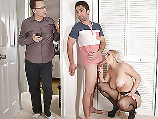 Blonde wife Vanessa takes her stepsons cock into her mouth