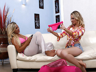 Two blonde step sisters lick and play each others cunts