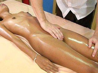 Skinny cute girl Kitti loves oiled massage